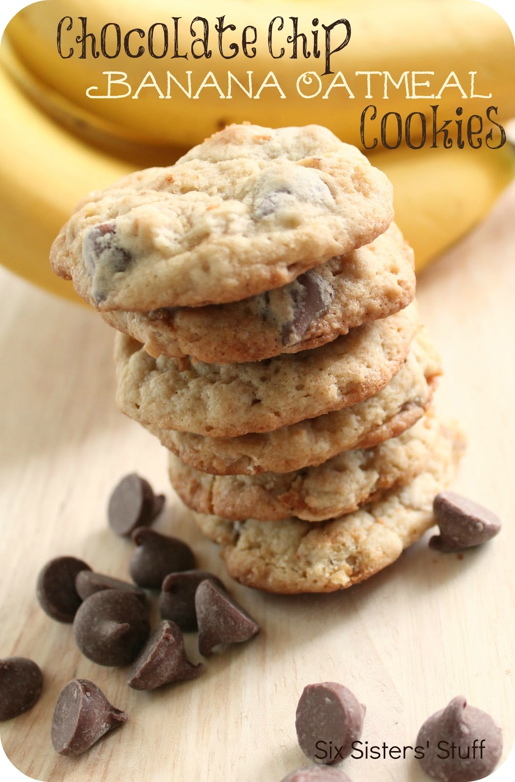 Chocolate Chip Banana Oatmeal Cookies Recipe | Six Sisters' Stuff