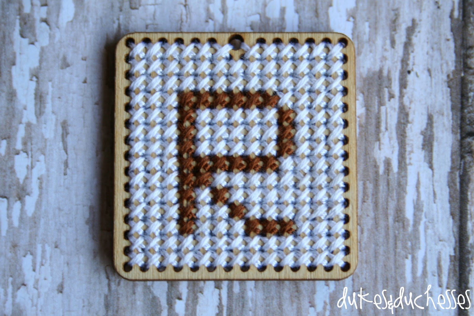 Cross stitch monogrammed necklace dukes and duchesses monogrammed pendant aloadofball Images