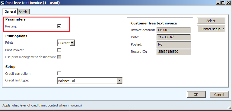 note make sure posting checkbox should be ticked