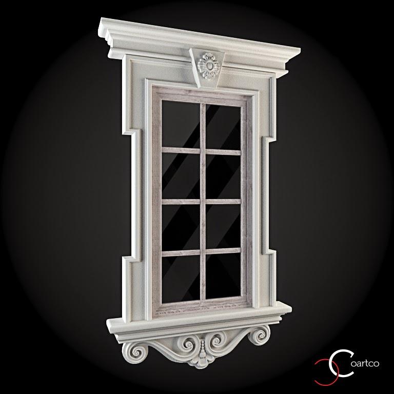 Ornamente Geamuri Exterior, fatade case cu profile decorative polistiren, profile fatada,  Model Cod: WIN-015
