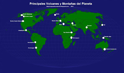 Mapamundi, seterra, Nombre de los Principales Volcanes y Montaas del Planeta Tierra
