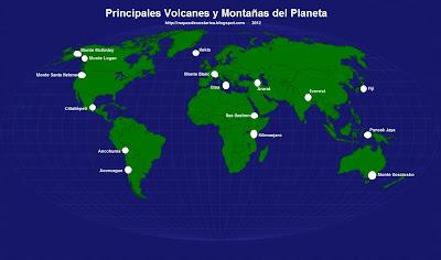 Mapamundi, seterra, Nombre de los Principales Volcanes y Montañas del Planeta Tierra