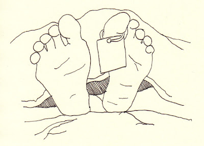 feet with a toe tag drawing
