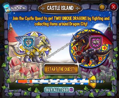 imagen del preogreso de la isla del castillo de dragon city