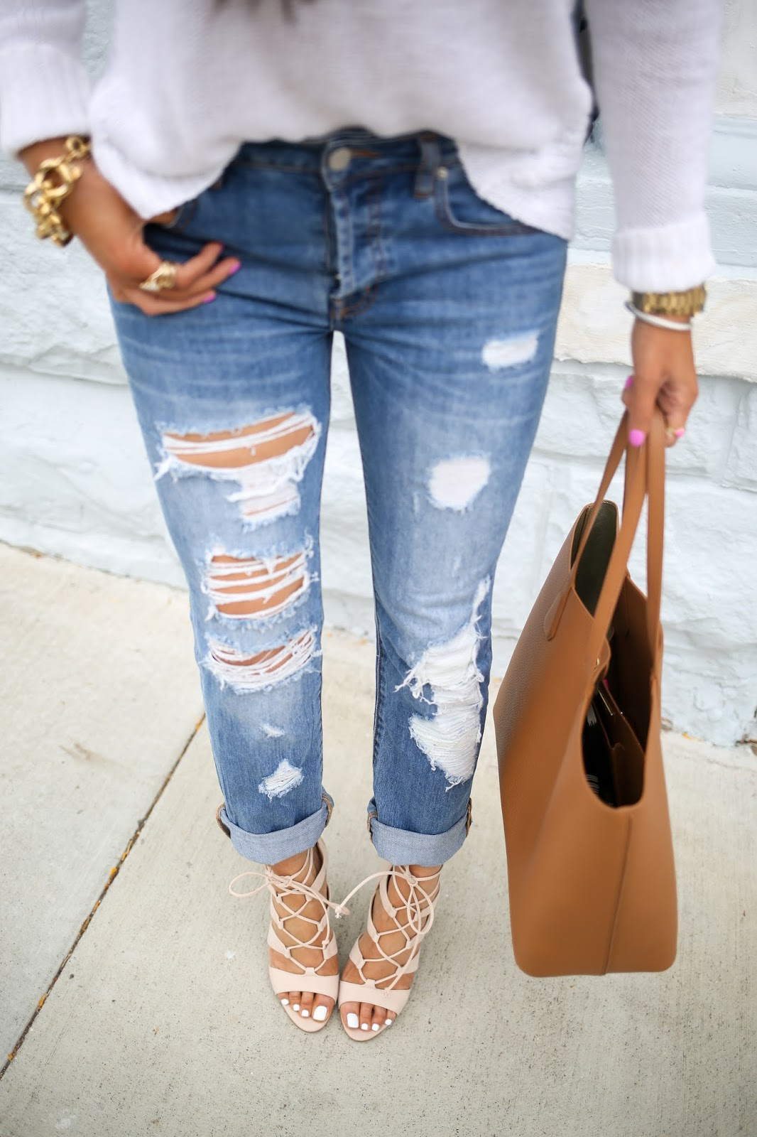best boyfriend jeans, nasty  gal boyfriend jeans, how to style boyfriend jeans, jcrew tassel earrings, tassel earrings, tory burch perry tote, tory burch tan tote, tory burch perry bag review, emily gemma blog, the sweetest thing blog, steve madden heels, steve madden sandalia, nordstrom steve madden heels, michael kors large jet set watch, oversized monogram necklace, huge monogram necklace, 2.5 inch monogram necklace, strappy blush heels, brunette balayage hair pinterest, summer fashion pinterest, spring fashion pinterest, summer outfit ideas pinterest, pinterest easy summer outfit ideas women, boyfriend jeans outfit ideas pinterest, kendra scott rings, the mill san francisco, prada retro sunglasses, prada sunglasses with gold bar, distressed ripped boyfriend jeans