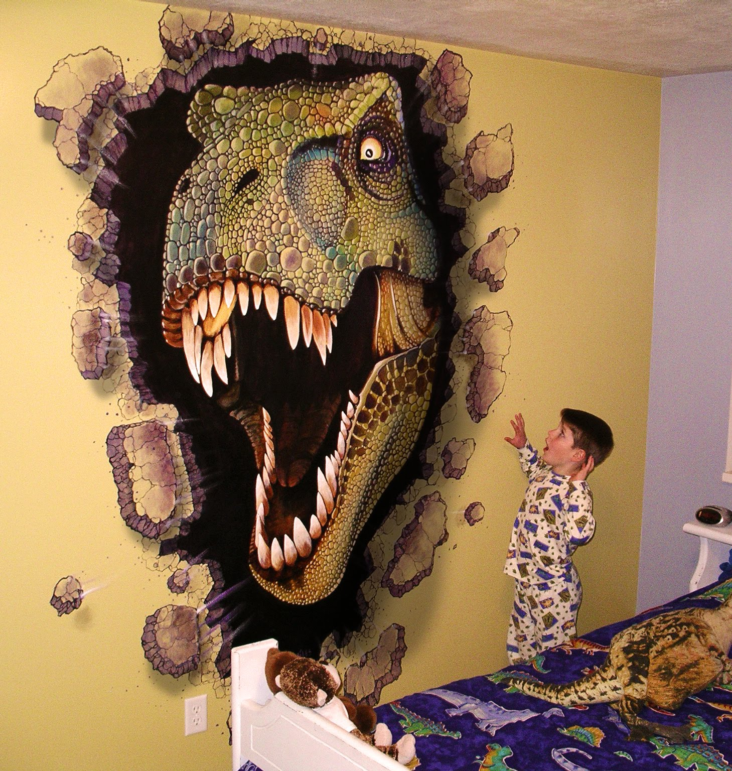 Miles woods art wall murals for T rex bedroom decor