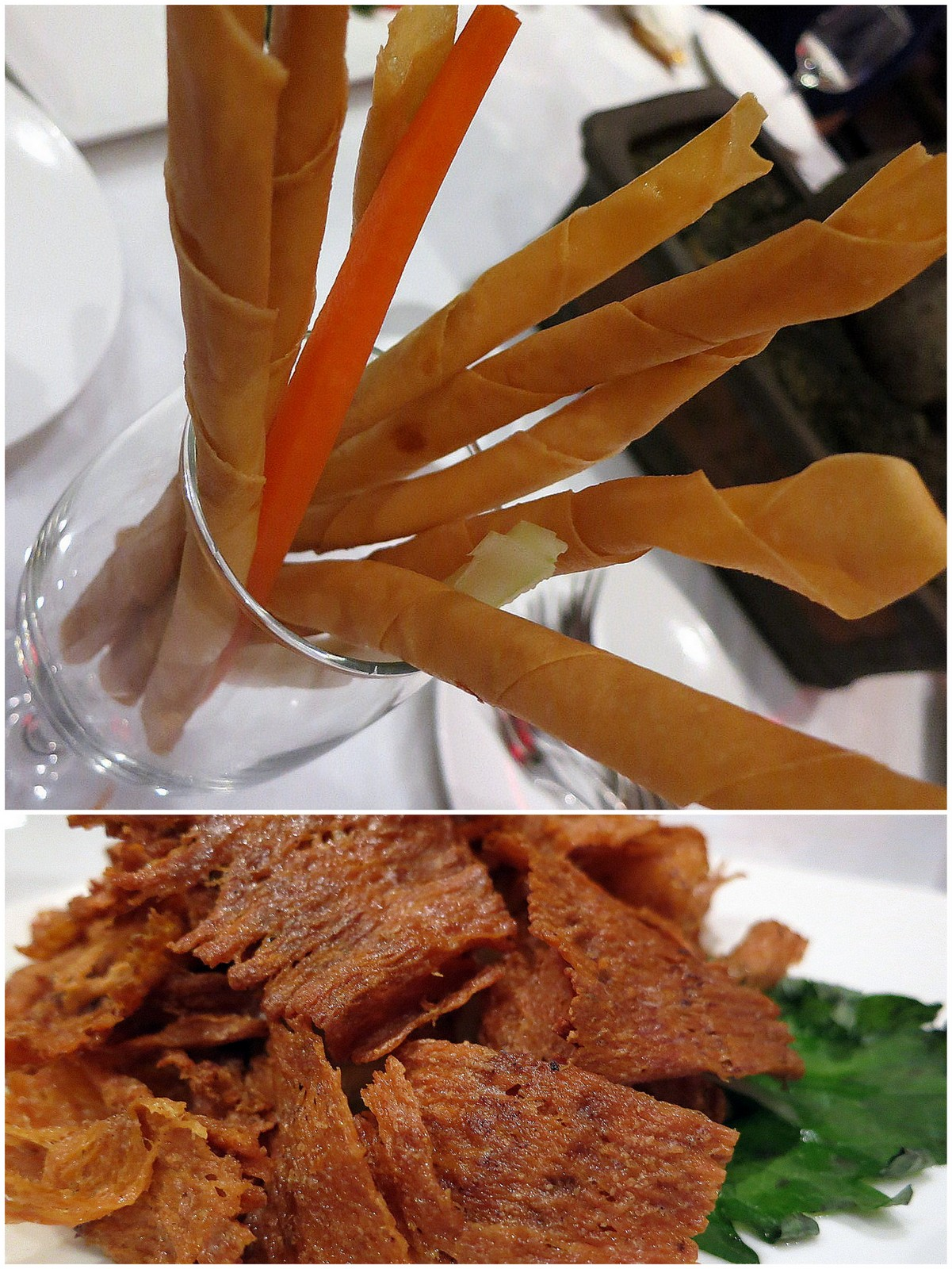 as well as wonton skin-wrapped salmon flakes & cuttlefish crackers ...