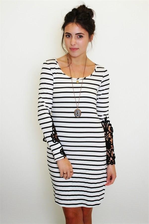 Buy online crochet striped dress for women on sale