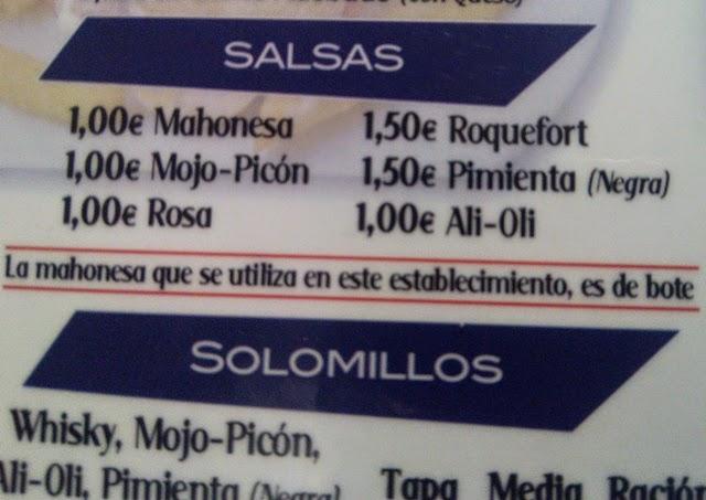 Precio Salsas - Bar Cibeles 2 - Serranito Advisor