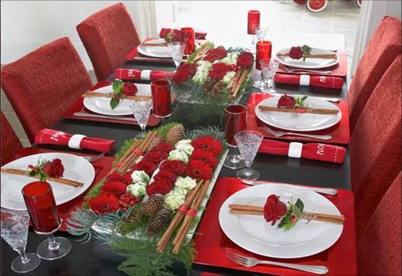 Christmas table decoration in red part 3 - Mesas decoradas para navidad ...