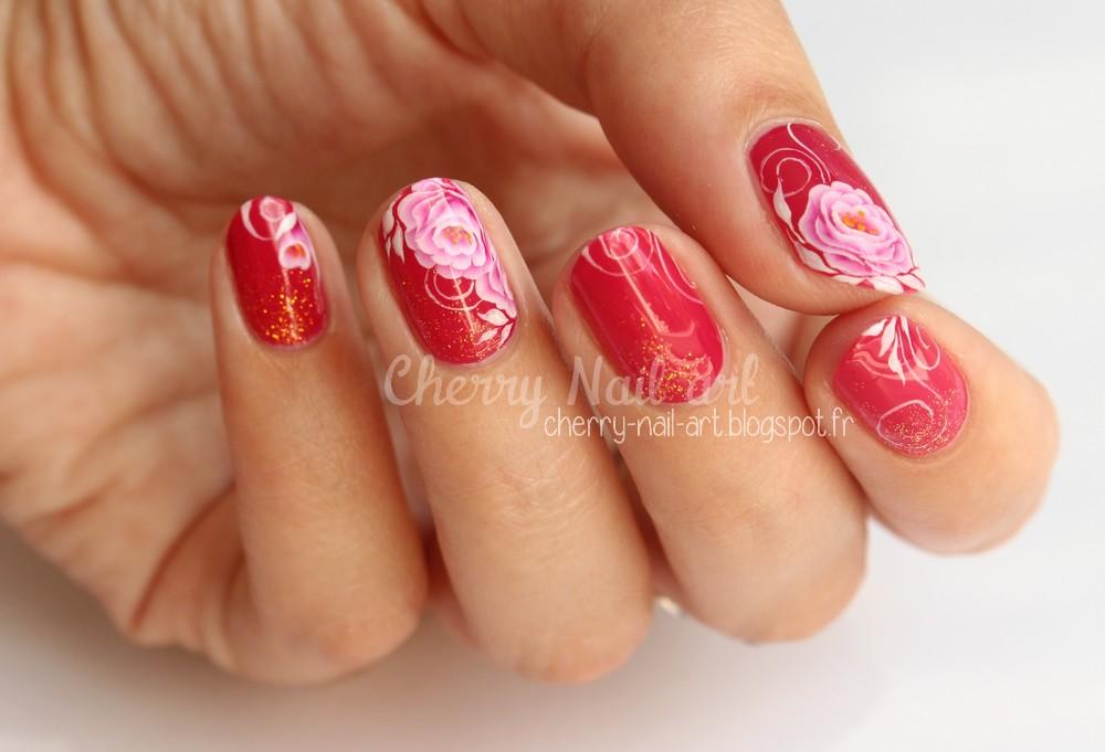 nail art fleur one stroke mariage