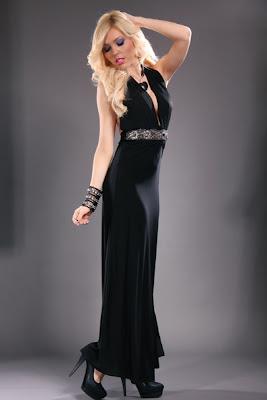 BLACK HALTER BEADED DECOR WAIST SLIT SEXY DRESS