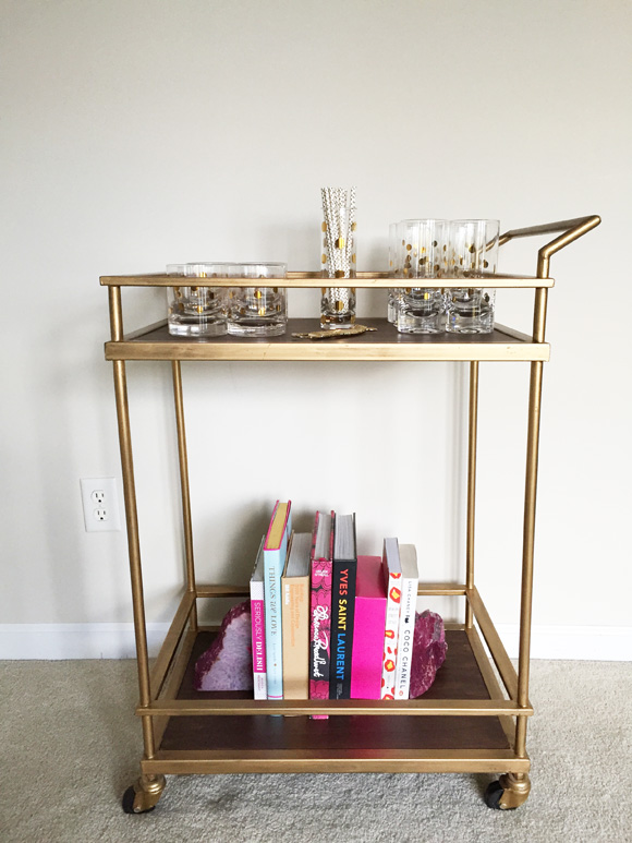 target threshold bar cart, gold highball cocktail glasses,