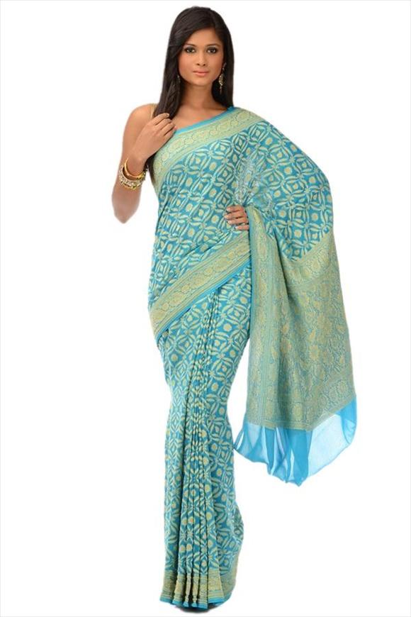 Turquoise Blue Georgette Banarasi Saree