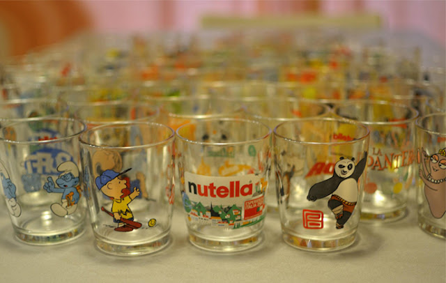 A collection of limited edition Nutella drinking glasses