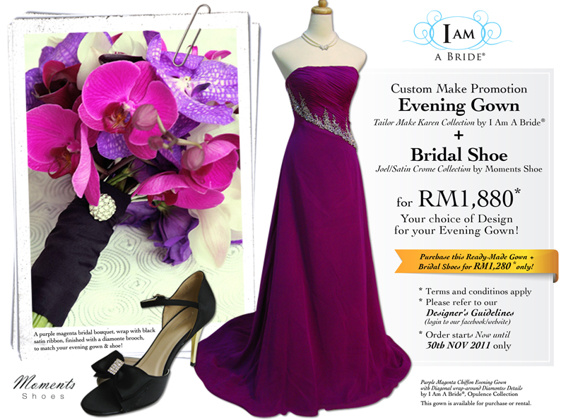 Custom Make Bridal Evening Gown Bridal Shoe for only RM1880