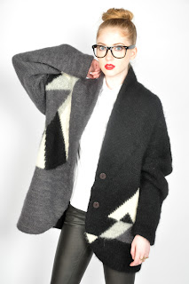 Vintage 1980's black, grey and white abstract print cardigan sweater.