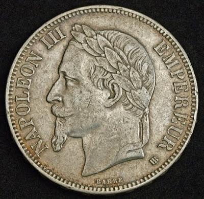 French coins 5 Francs silver coin, Emperor Napoleon III