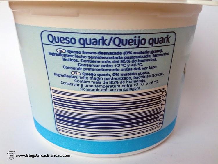 Ingredientes del queso quark desnatado Linessa de Lidl.