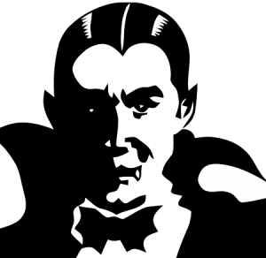 A black and white image of a fanged vampire wearing a cape and bow tie.