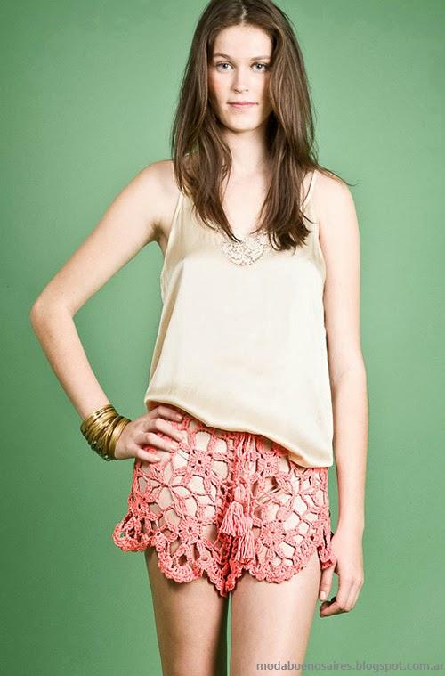 Moda Tejidos verano 2014. Agostina Bianchi primavera verano 2014 shorts tejidos crochet.