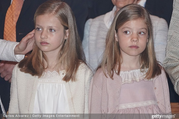 Princess Leonor of Spain and Princess Sofia of Spain attend the Easter Mass at the Cathedral of Palma de Mallorca