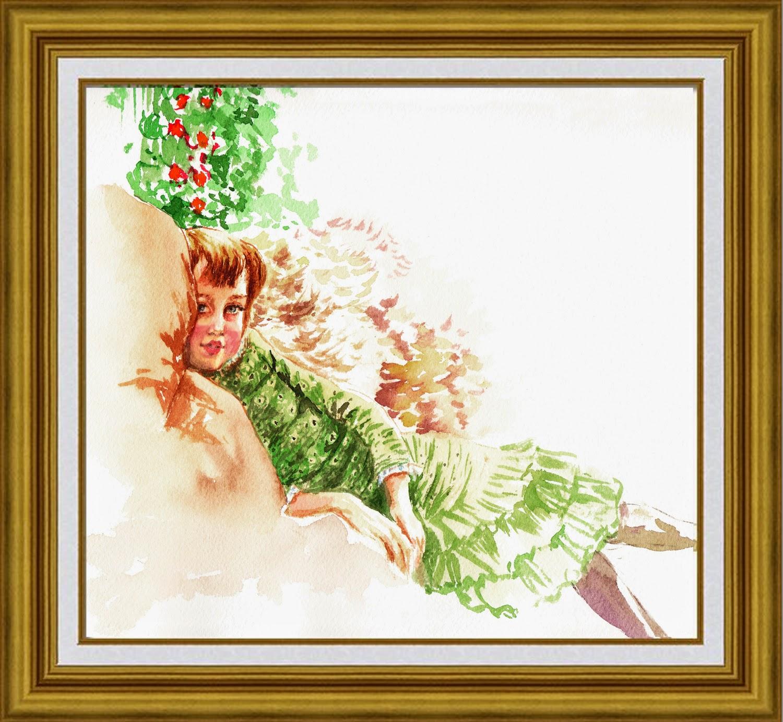 Lilian Harvey fragment in watercolor