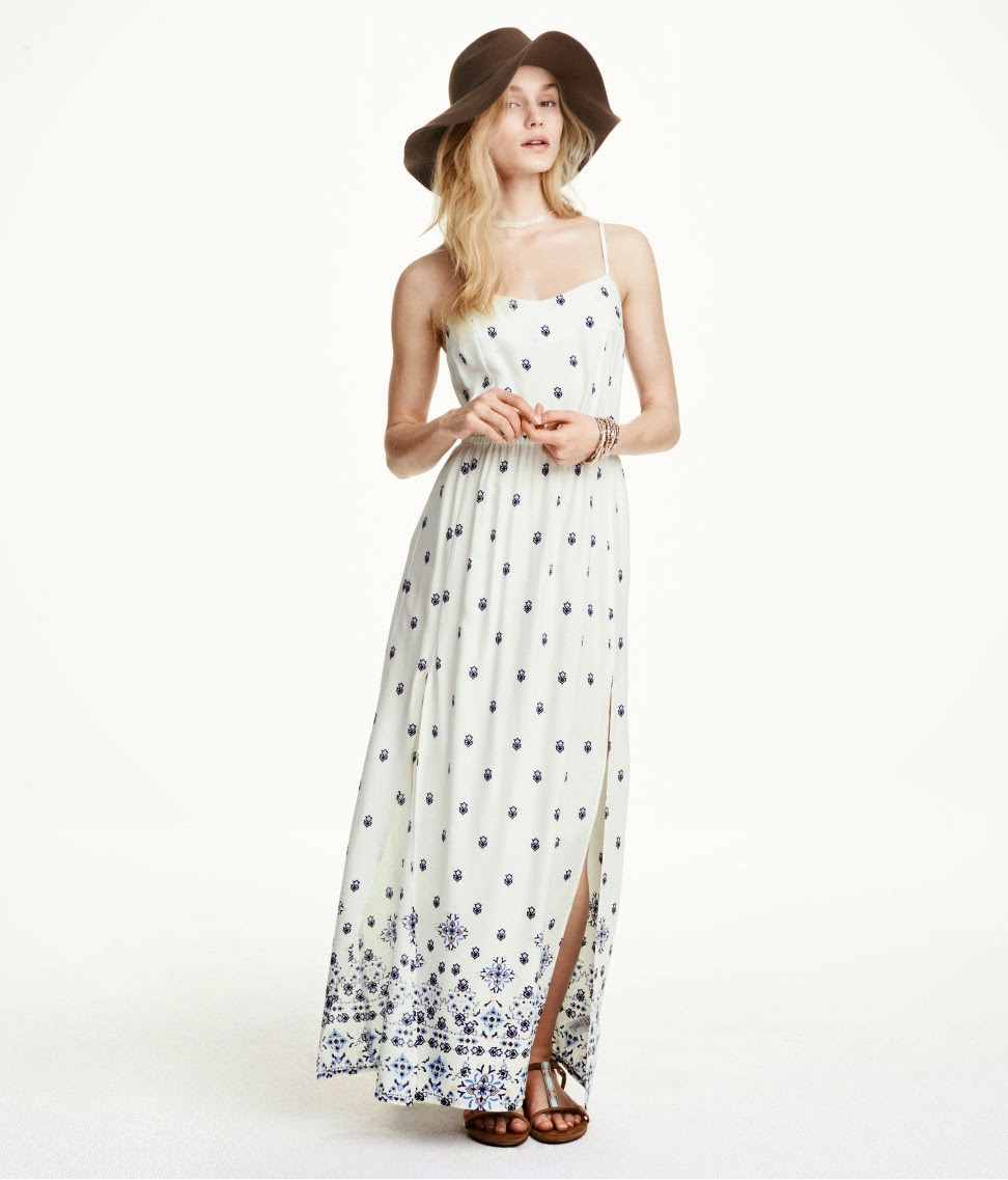 hm white blue maxi dress