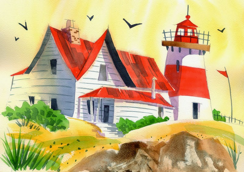 Lighthouse watercolour painting by Ian Davy Brown