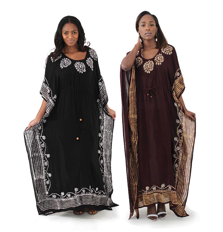 Embroidered Batik Long Dress