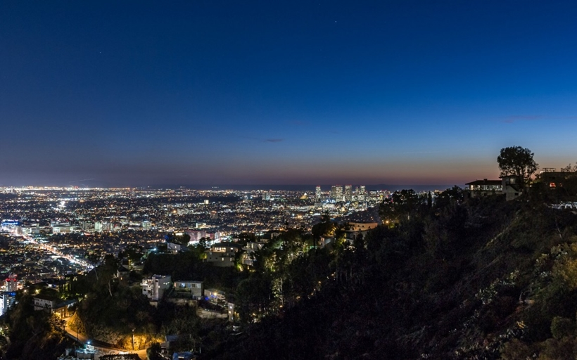 City lights from Sharp modern home on Sunset Strip