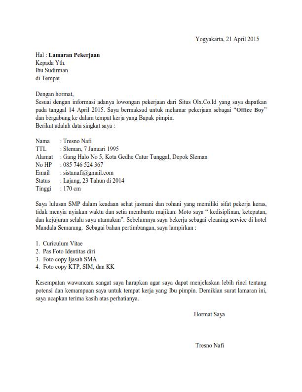 Surat Lamaran Kerja OB