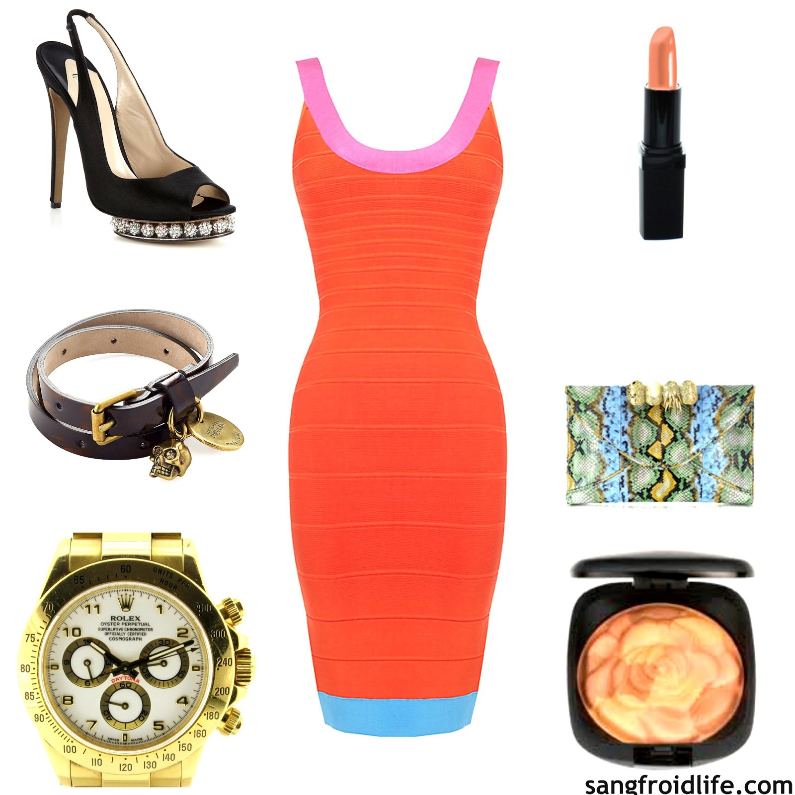 Rolex gold watch, herve orange dress, cream nude lipstick, floral blush