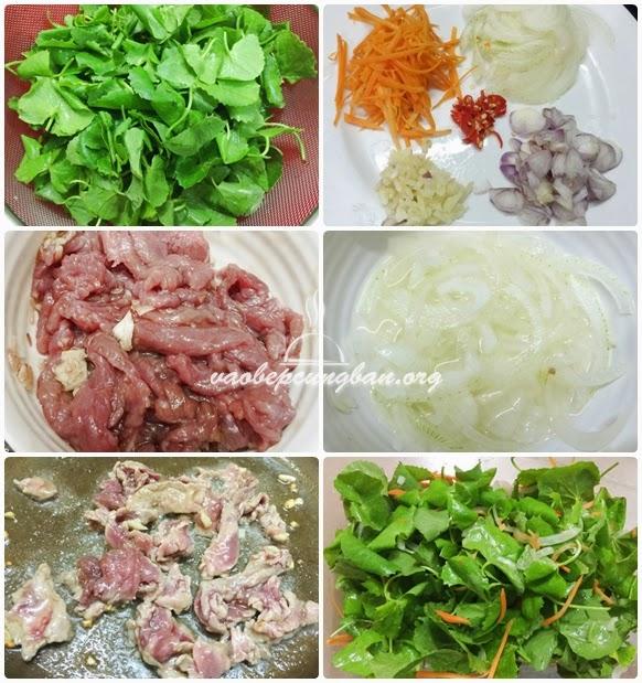 Cách làm gỏi rau má thịt bò 2