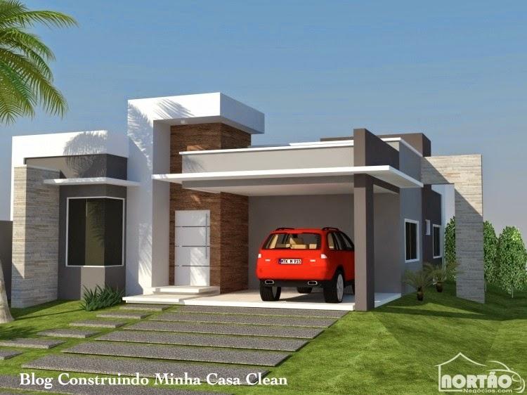 Construindo minha casa clean fachadas de casas com garagem for Fachadas modernas para casas pequenas de una planta