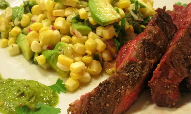 Gour-Maybe?: Hanger Steak. Corn and Avocado Salad. Chimichurri. You're ...