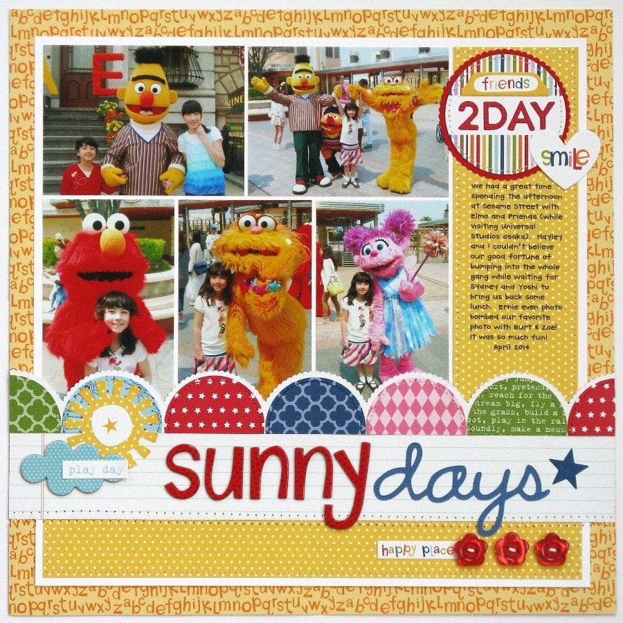 Abc scrapbook ideas list - For My First Layout I Found Some Favorite Photos Featuring Our Encounter With The Sesame Street Gang At Universal Studios Osaka And I Knew They Would Be