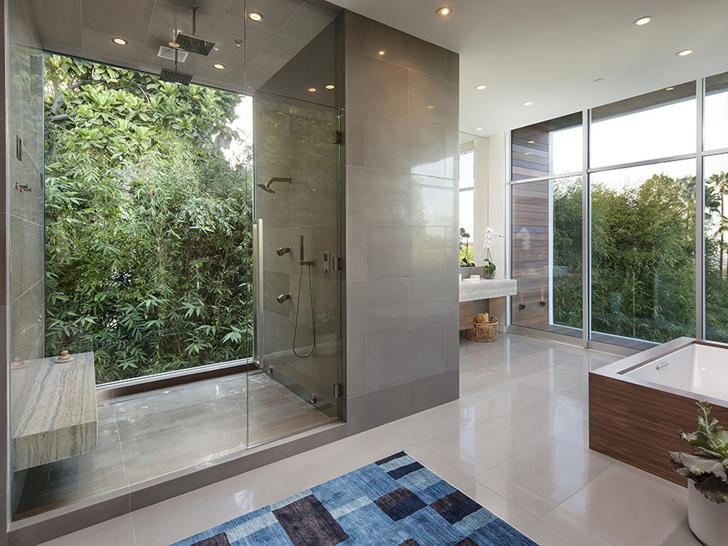 Bathroom in Sunset Plaza Drive modern mansion in Los Angeles