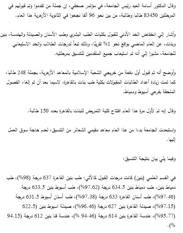 تنسيق الثانويه الازهريه   للقبول بكليات ومعاهد جامعة الازهر 2015 للمرحلتين الأولي والثانيه