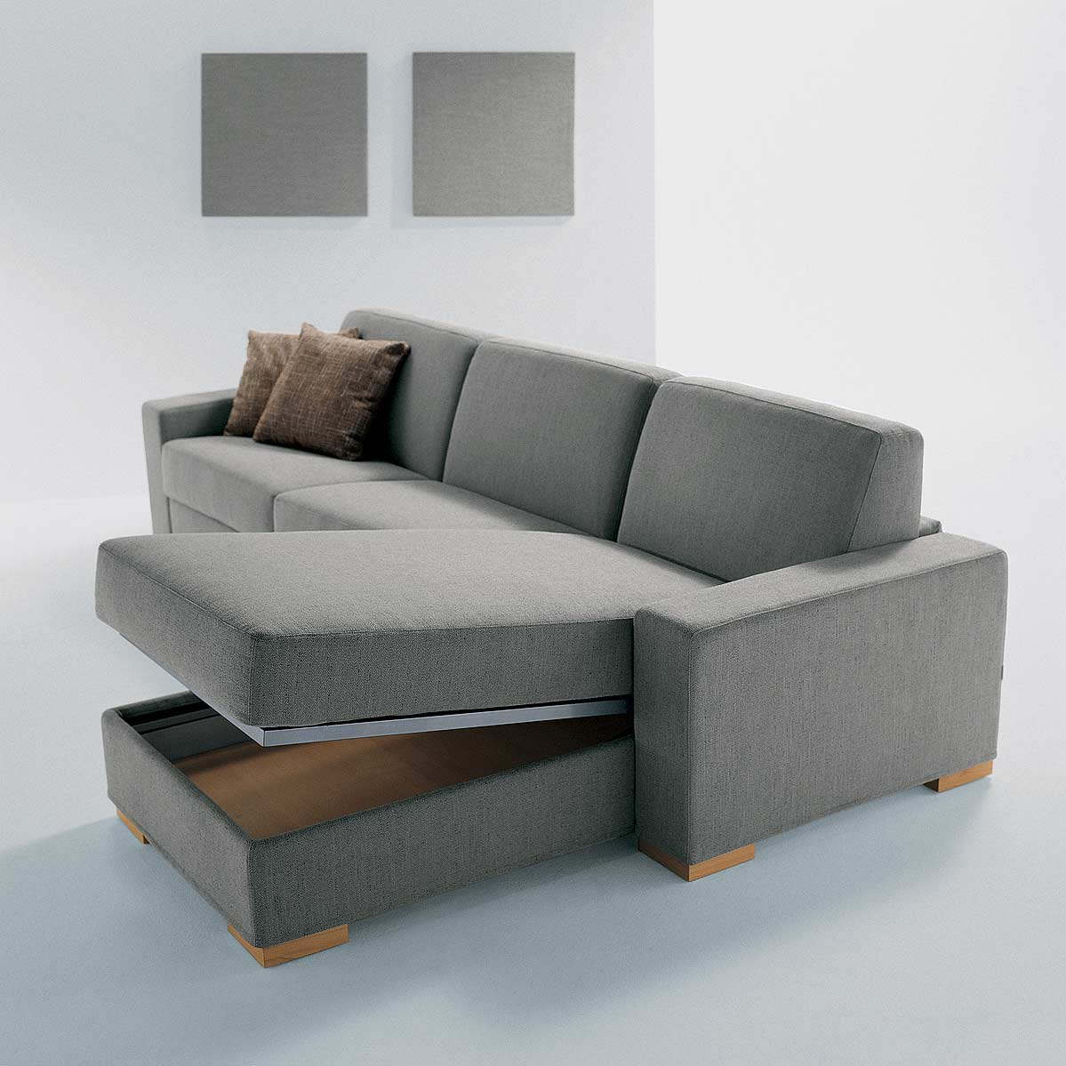 Convertible Sofa Bed on L Shaped Leather Chair