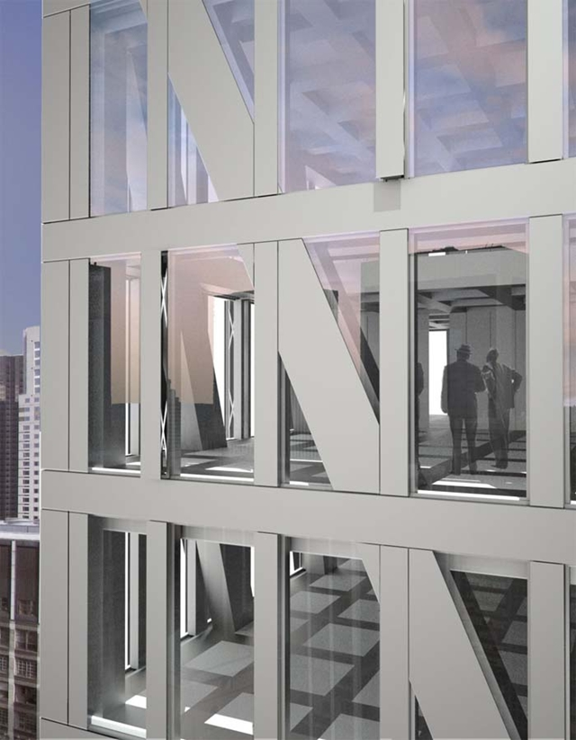 Picture of the steel and glass facade on the Tower Verre