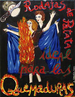 Rodajas de patatas ideal quemaduras, Agustí Garcia Monfort, Bad Painting, Pinturas,