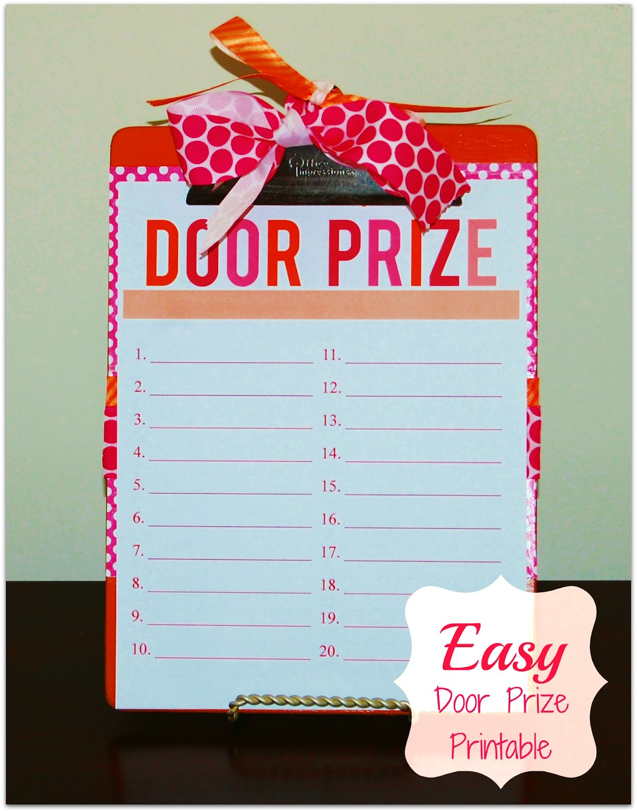 Door prize party printable jazzed up clipboard for Idea for door prizes