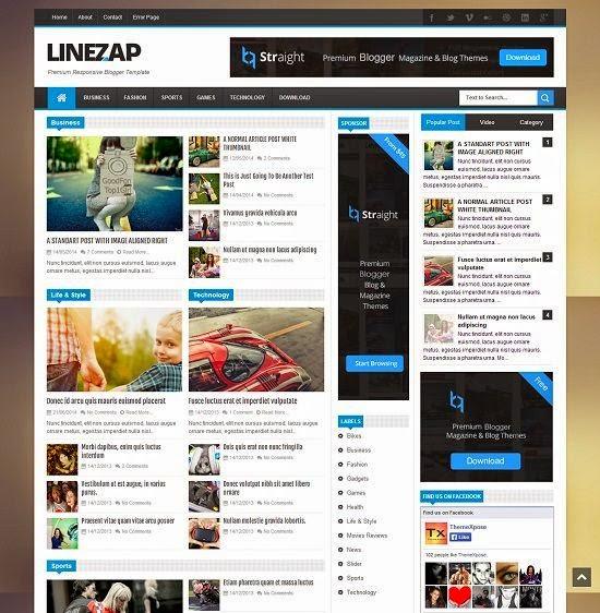 Lizezap - Magazine Responsive Blogger Template