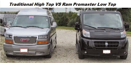 Promaster Low Top Conversion Van VS GM High Top Conversion Van