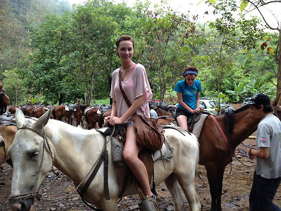Chloe & Abby on horses at Nauyaca Waterfall, Costa Rica