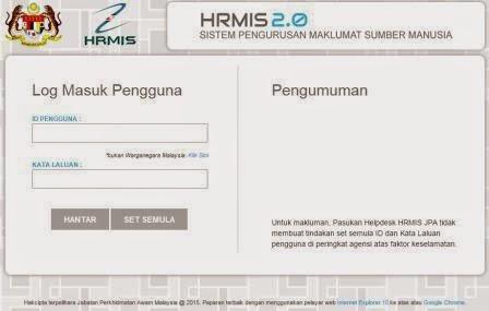 Mohon cuti penjawat awam melalui HRMIS 2.0