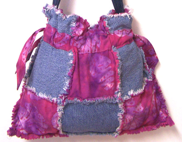Drawstring Denim Ragged Tote Bag Purse Violet Pink Batik