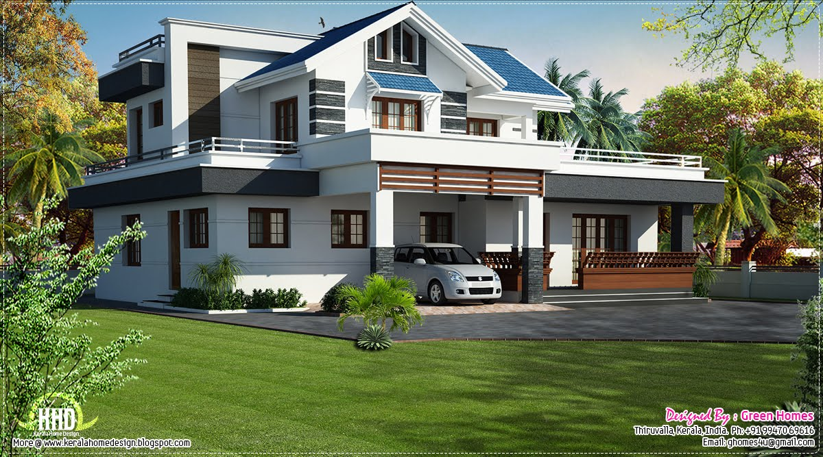 Modern 4 bedroom villa design kerala home design and for Modern green home plans