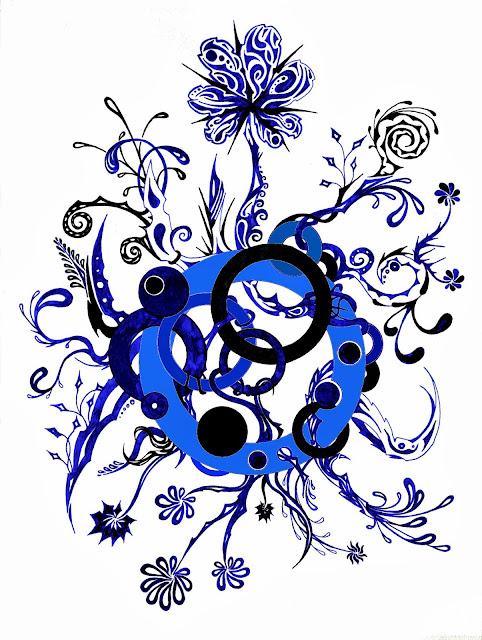 Dessins Fantastiques Fleurs+bleues+et+noires+colori%C3%A9es+en+bleu
